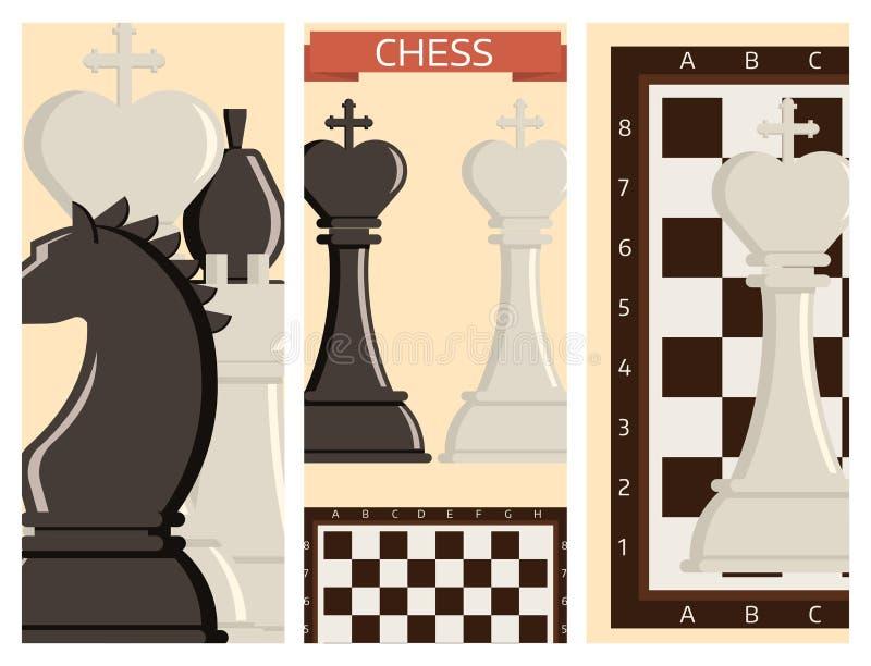 Szachowa deska i bierki strategii kart sztuki czasu wolnego wektorowej bitwy turnieju wyborowi narzędzia ilustracja wektor