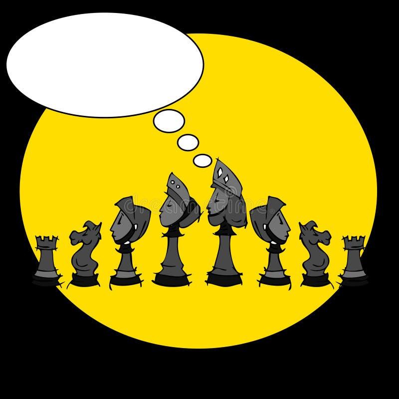 Szachowa gra, kreskówka ilustracja wektor