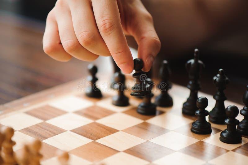 Szachowa gra, rycerz, szachy na pokładzie biznesowego pojęcia obrazy royalty free