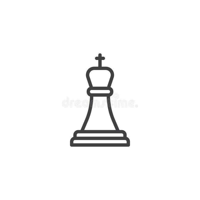 Szachowa królewiątko linii ikona ilustracja wektor