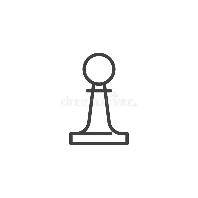 Szachowa pionek linii ikona royalty ilustracja