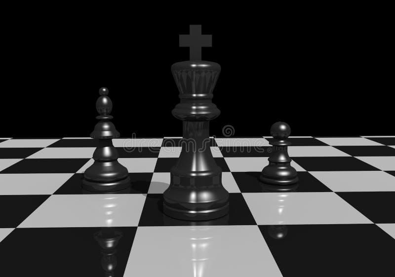 Szachowa zastawnicza bierki królewiątka damy boardgame 3d ilustracja royalty ilustracja