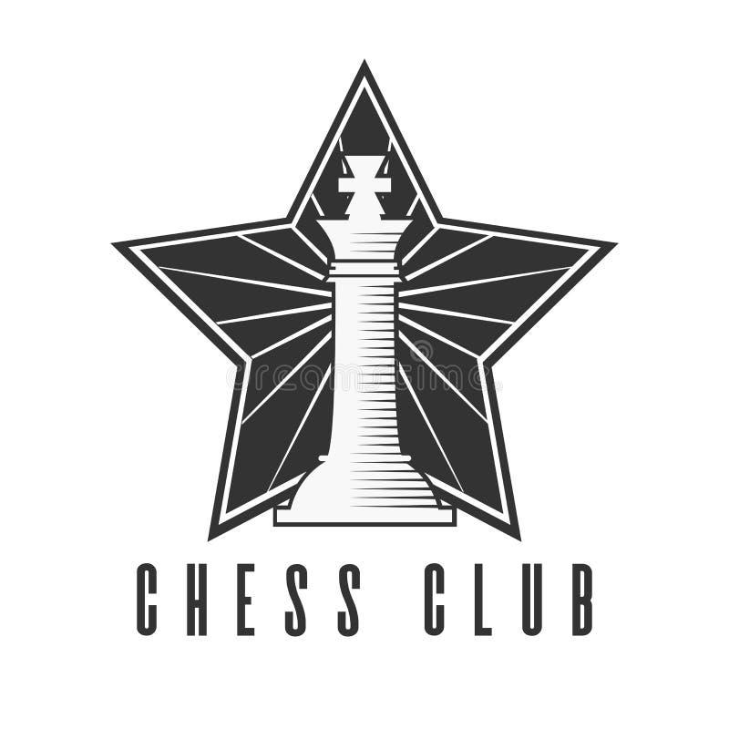 Szachowego klubu czarny i biały emblemat z szachowym królewiątkiem ilustracja wektor