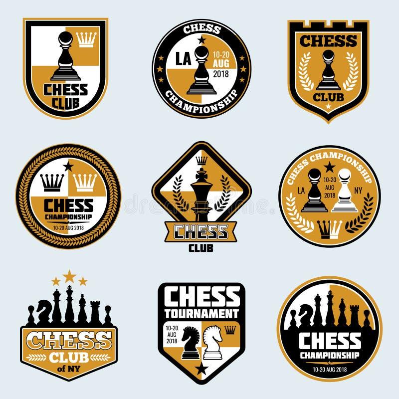 Szachowego klubu etykietki Strategia biznesowa emblematy i ilustracji