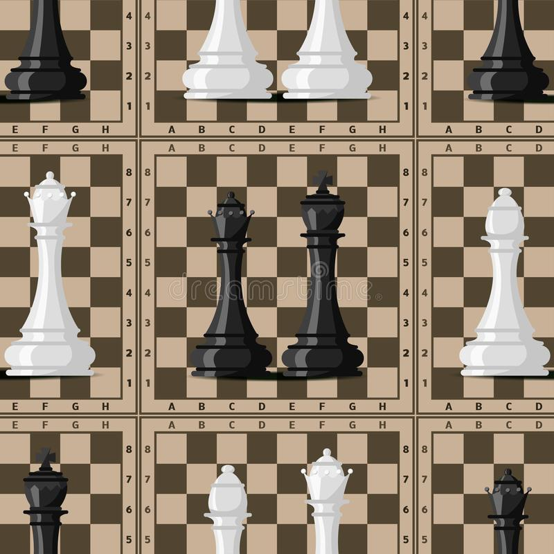Szachowej deski tła bezszwowych deseniowych bierek czasu wolnego pojęcia rycerza wektorowej grupy biała i czarna kawałek rywaliza ilustracji