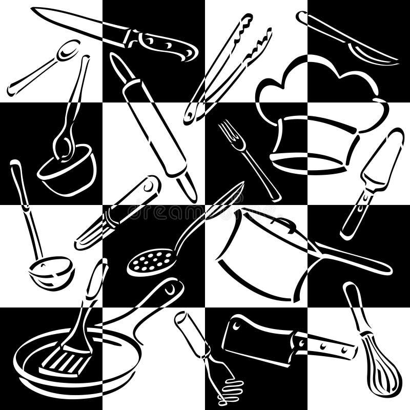 szachownicy kuchni narzędzia royalty ilustracja