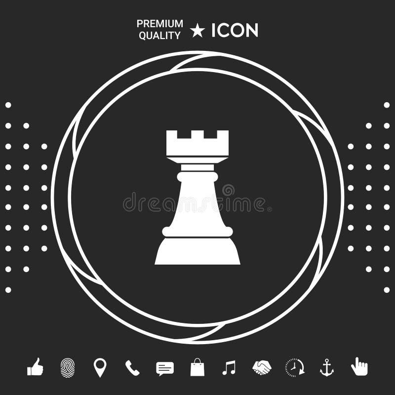 Szachowy gawron Strategii ikona ilustracji