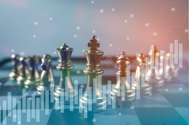 Szachowy gry planszowa pojęcie, strategia i planujemy sukcesu znaczenie, Akcyjna pieniężna statystyki obraz royalty free