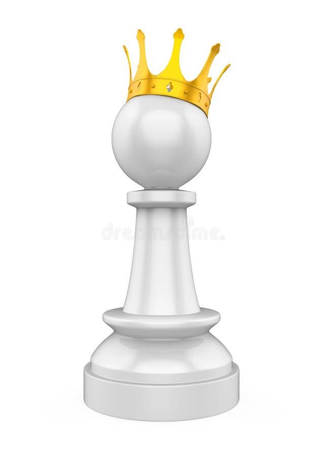 Szachowy pionek z Złotą koroną Odizolowywającą royalty ilustracja