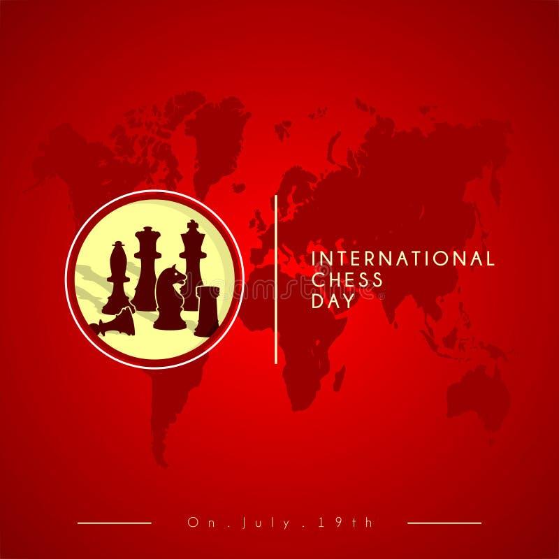 Szachowy Wektorowy projekt dla Międzynarodowego Szachowego dnia ilustracja wektor
