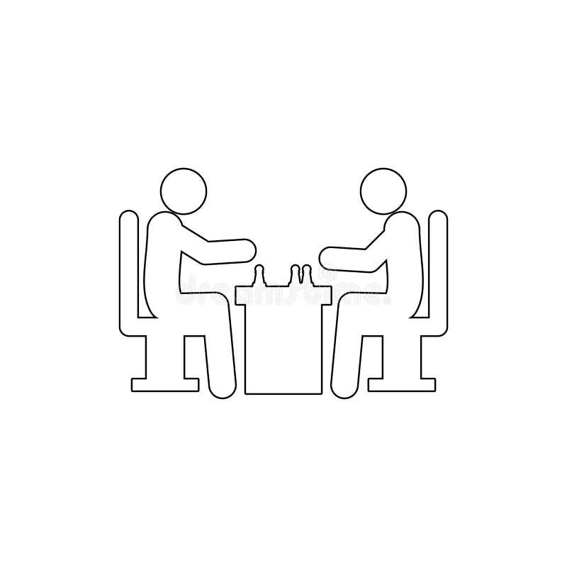 Szachowych gracz?w ikona Element szachy dla mobilnych poj?cia i sieci apps ilustracyjnych Cienka kreskowa ikona dla strona intern royalty ilustracja