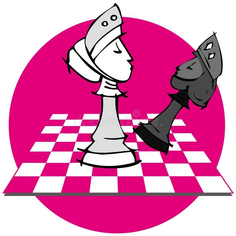 Szachuje: Szachowa gra, kreskówka royalty ilustracja