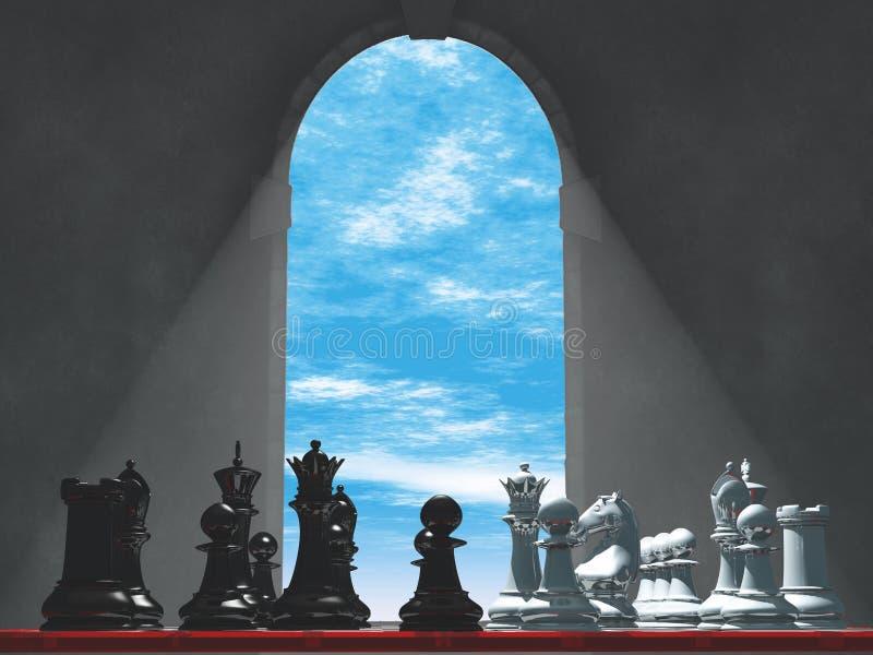 Szachy średniowieczny okno fotografia royalty free