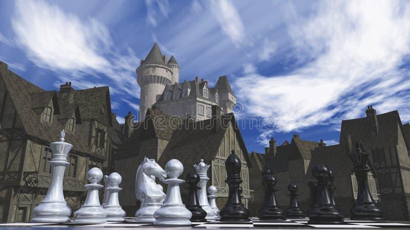 Szachy i średniowieczny miasteczko zdjęcia stock