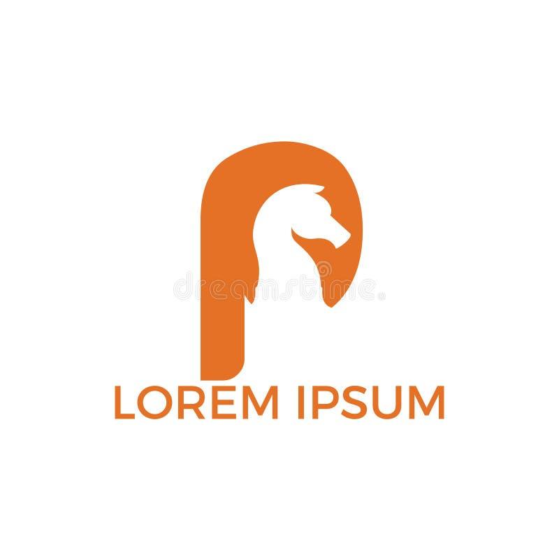 Szachy i listowy P logo projekt ilustracji