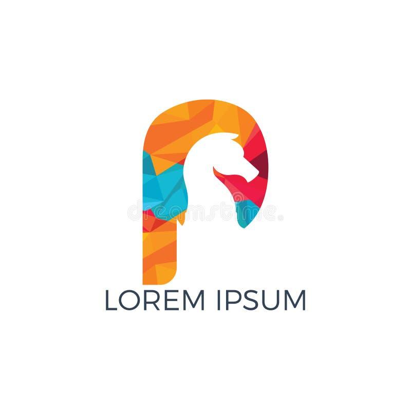 Szachy i listowy P logo projekt ilustracja wektor