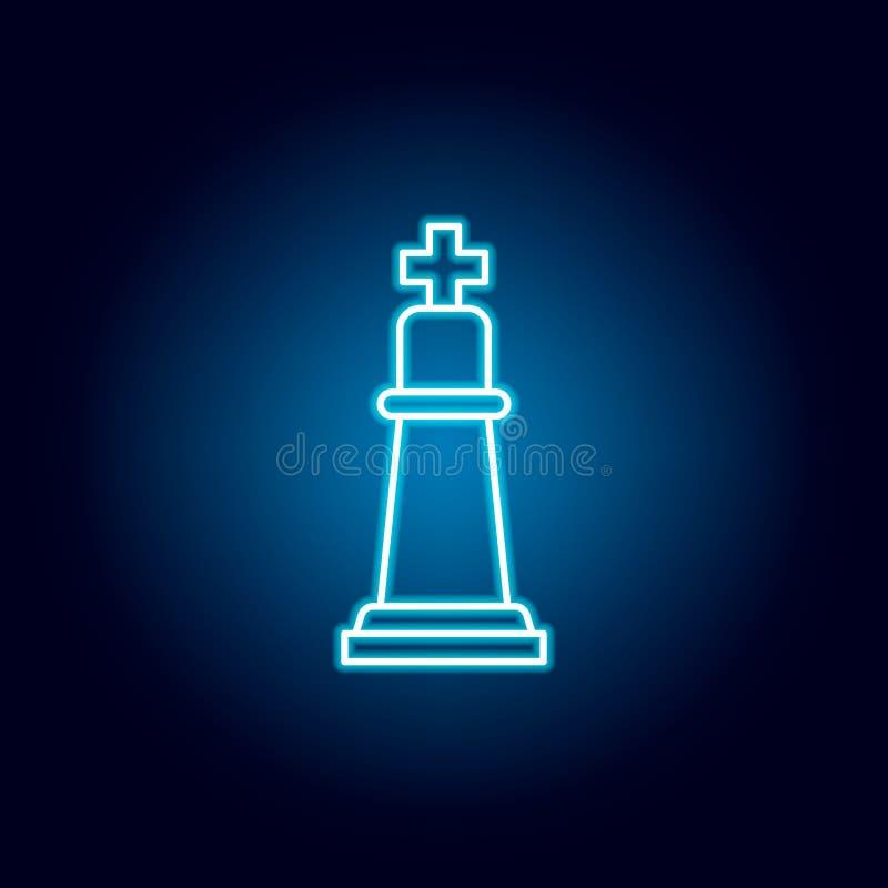 szachy, królewiątko, kawałka konturu ikona w neonowym stylu elementy edukacji ilustracji linii ikona znaki, symbole mogą używać d royalty ilustracja
