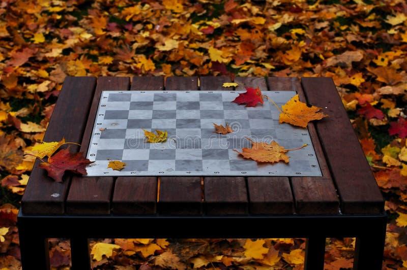 Szachy stół w parku obrazy stock