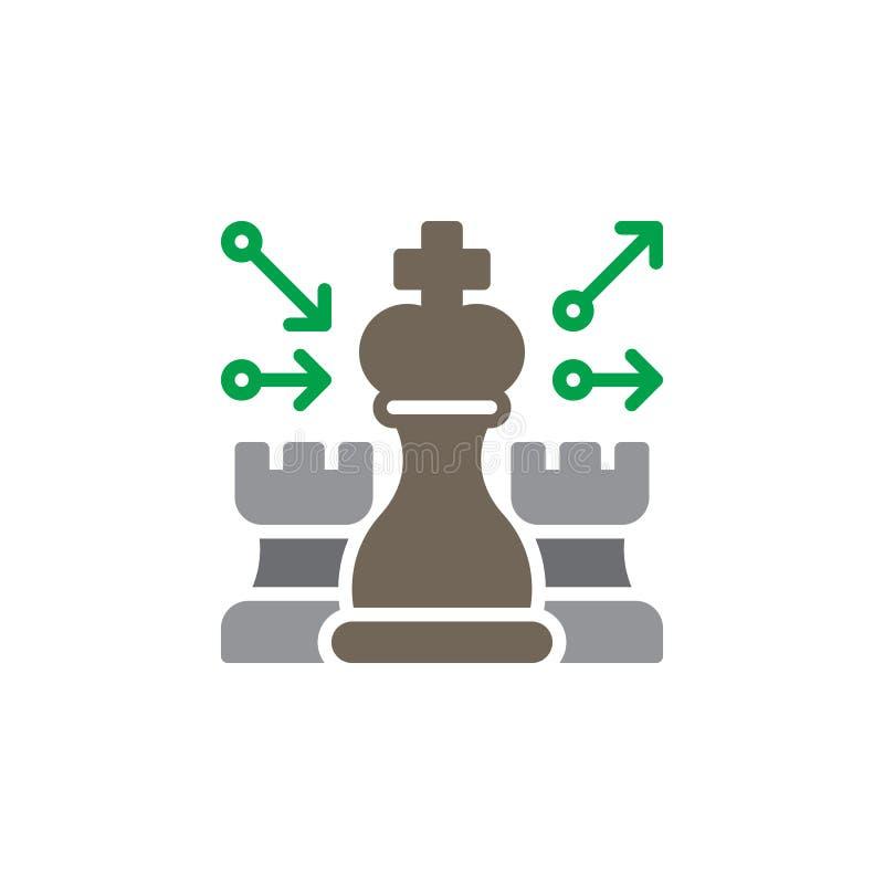 Szachy, strategii ikony wektor, wypełniający mieszkanie znak, stały kolorowy piktogram odizolowywający na bielu royalty ilustracja