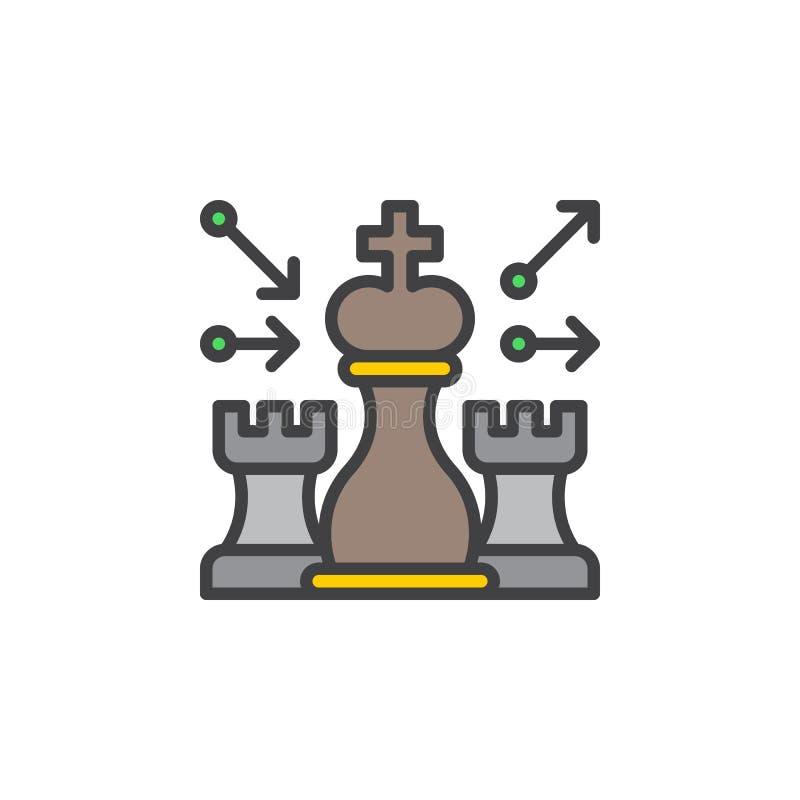 Szachy, strategii kreskowa ikona, wypełniający konturu wektoru znak, liniowy kolorowy piktogram odizolowywający na bielu royalty ilustracja
