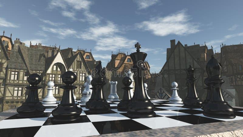 Szachy w średniowiecznych otoczeniach obraz royalty free
