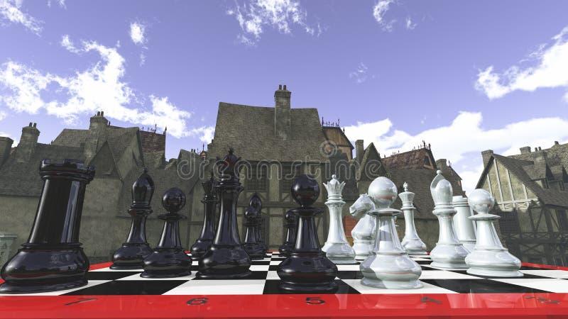 Szachy w średniowiecznych otoczeniach zdjęcie royalty free