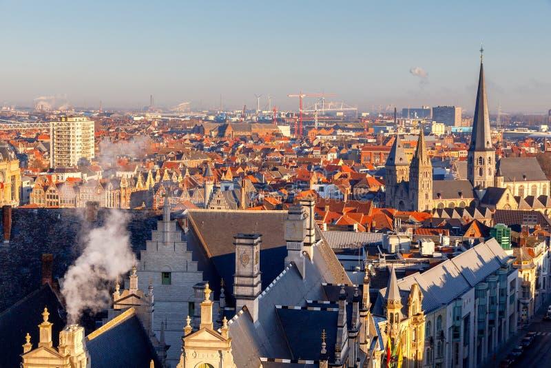 szacowny Widok z lotu ptaka stary miasto obrazy stock
