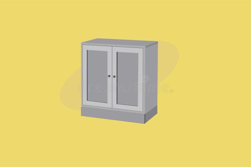 Szafa lub garderoba Popielaty Drewniany meble Wektorowa ilustracja, odizolowywaj?ca royalty ilustracja