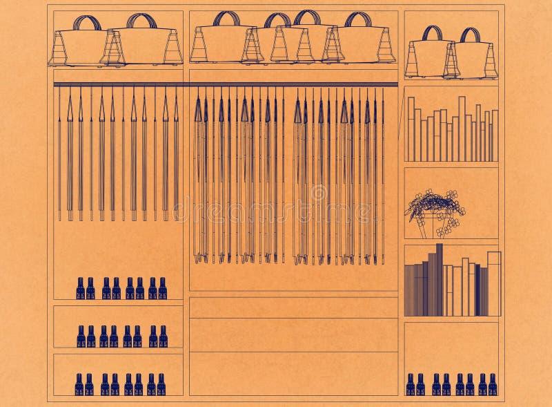Szafa organizatora projekt - Retro architekta projekt royalty ilustracja
