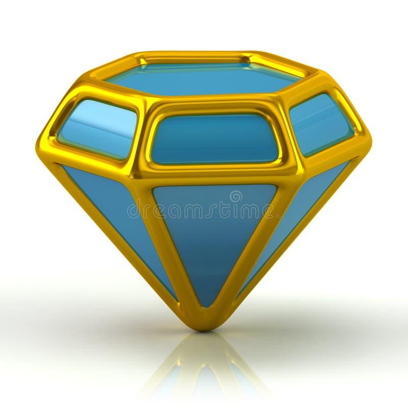 Szafirowa błękitna ikony 3d ilustracja royalty ilustracja