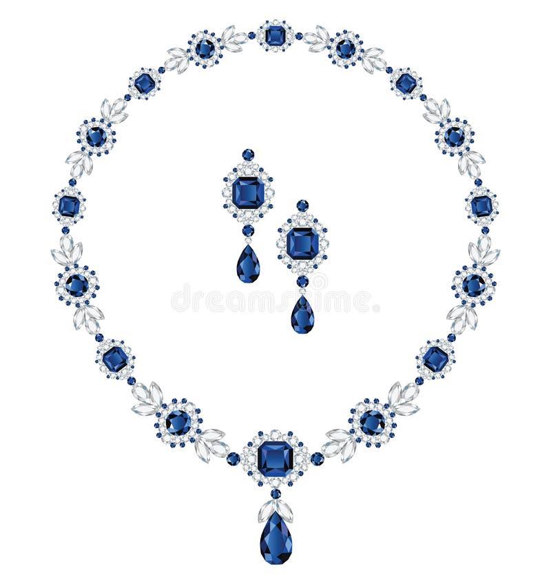 Szafirowa biżuteria royalty ilustracja