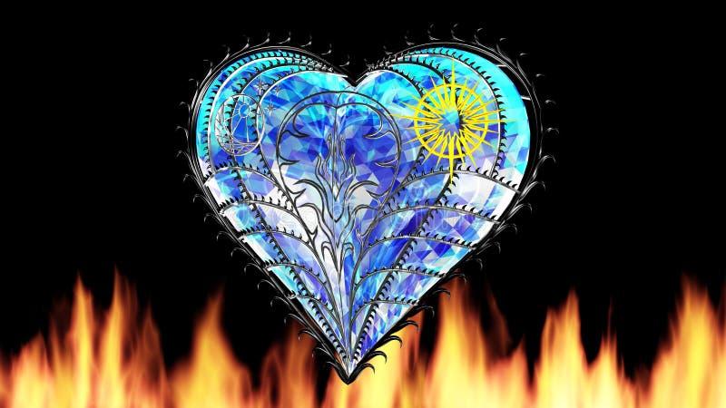Szafirowy serce z pożarniczą 3D ilustracją odpłaca się ilustracji