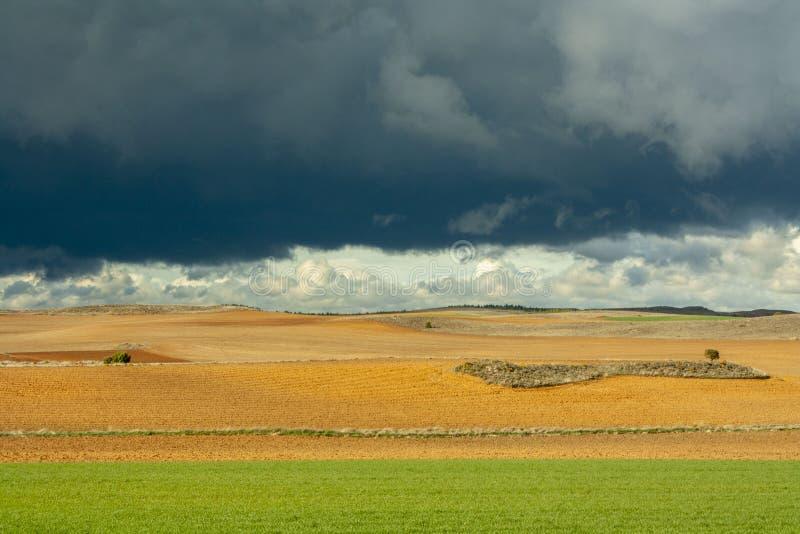 Szaleje niebo w polu Soria, Hiszpania zdjęcia royalty free