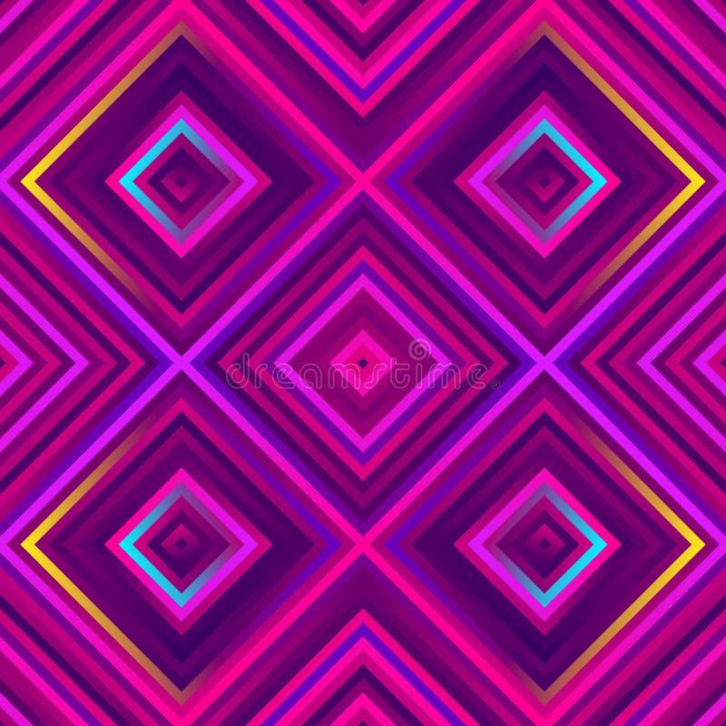 Szaleni kwadraty - jaskrawy geometryczny wzór z śmiałymi neonowymi kolorami royalty ilustracja