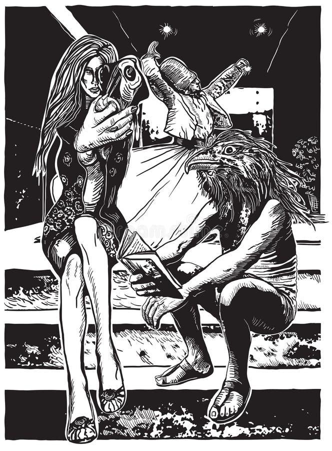 Szalenie świat - ręka rysująca wektorowa ilustracja ilustracja wektor