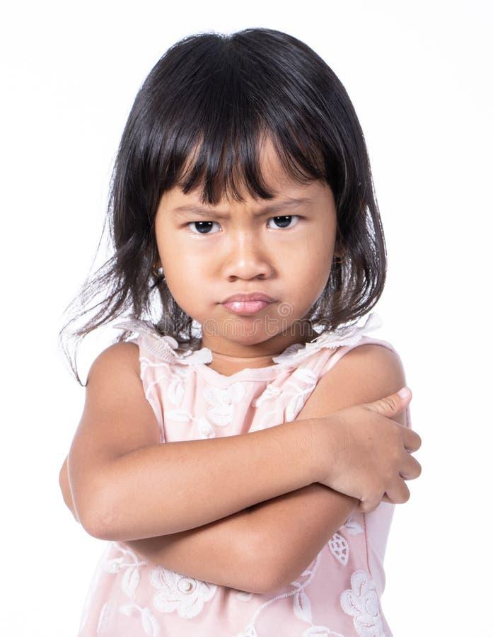 Szalenie i smutny dzieciak odizolowywający nad bielem obrazy royalty free
