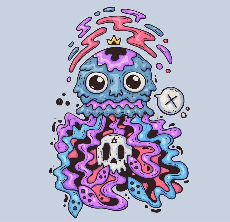 Szalenie jellyfish z czaszką Kreskówki ilustracja dla druku i sieci Charakter w nowożytnym grafika stylu ilustracji