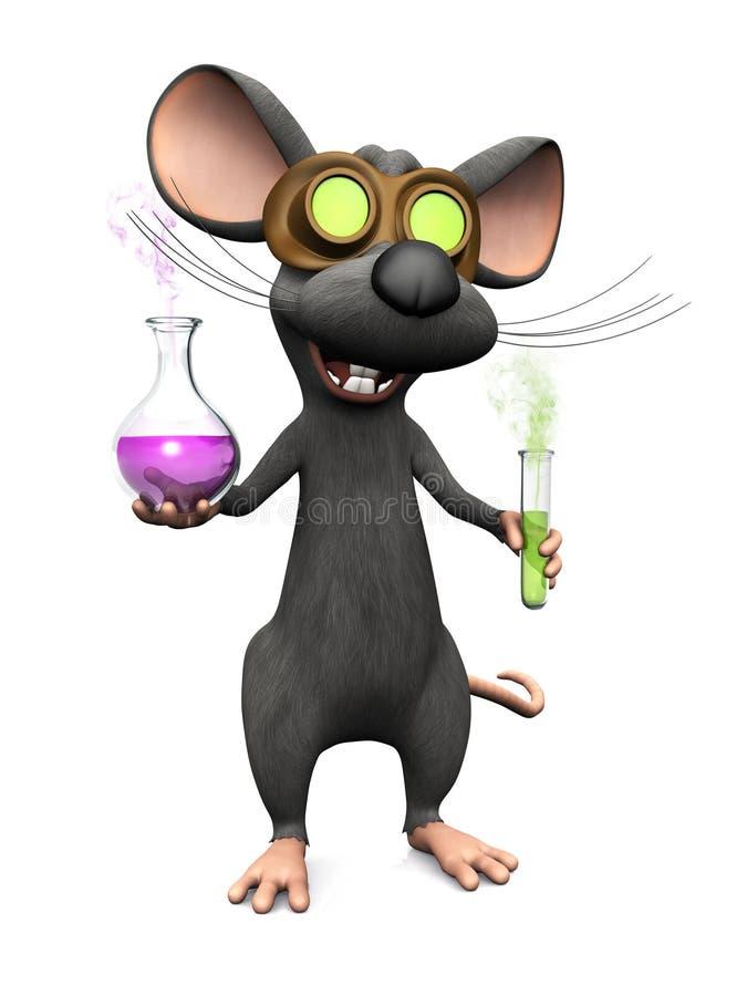 Szalenie kreskówki mysz robi nauka eksperymentowi royalty ilustracja