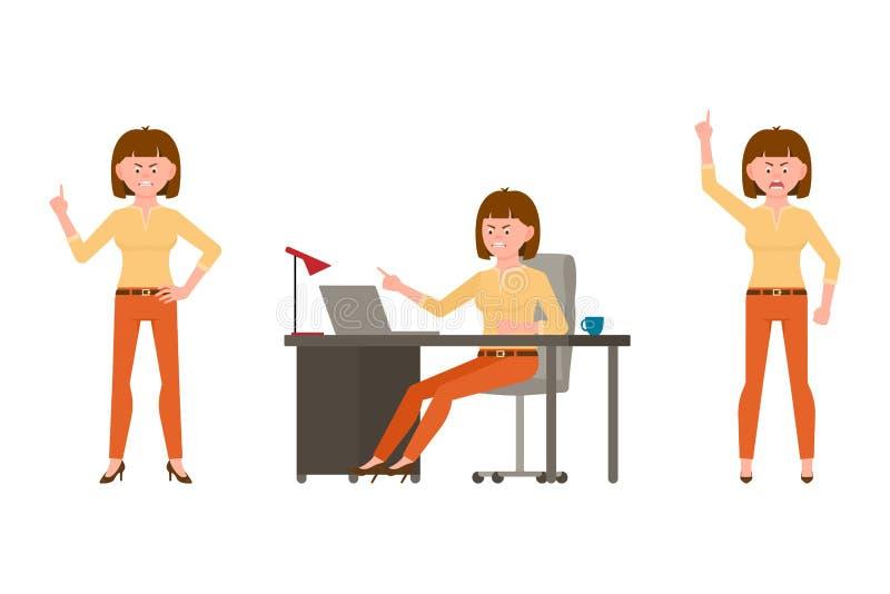 Szalenie, krzyczący, łaja brąz włosianej biurowej kobiety w pomarańczowej spodnie wektoru ilustracji ilustracji
