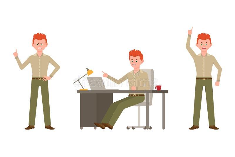 Szalenie, krzyczący, łaja czerwonego włosianego biurowego mężczyzny w zielonej spodnie wektoru ilustracji royalty ilustracja