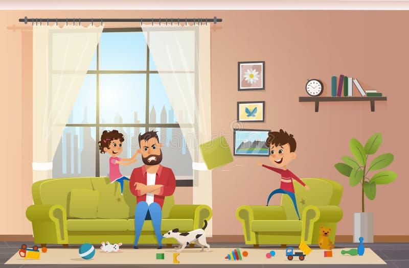 Szalenie ojciec z Niegrzecznymi dziećmi Wektorowymi w domu royalty ilustracja