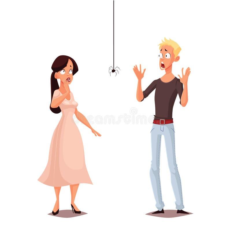 Szalenie przestrasząca kobieta i mężczyzna royalty ilustracja