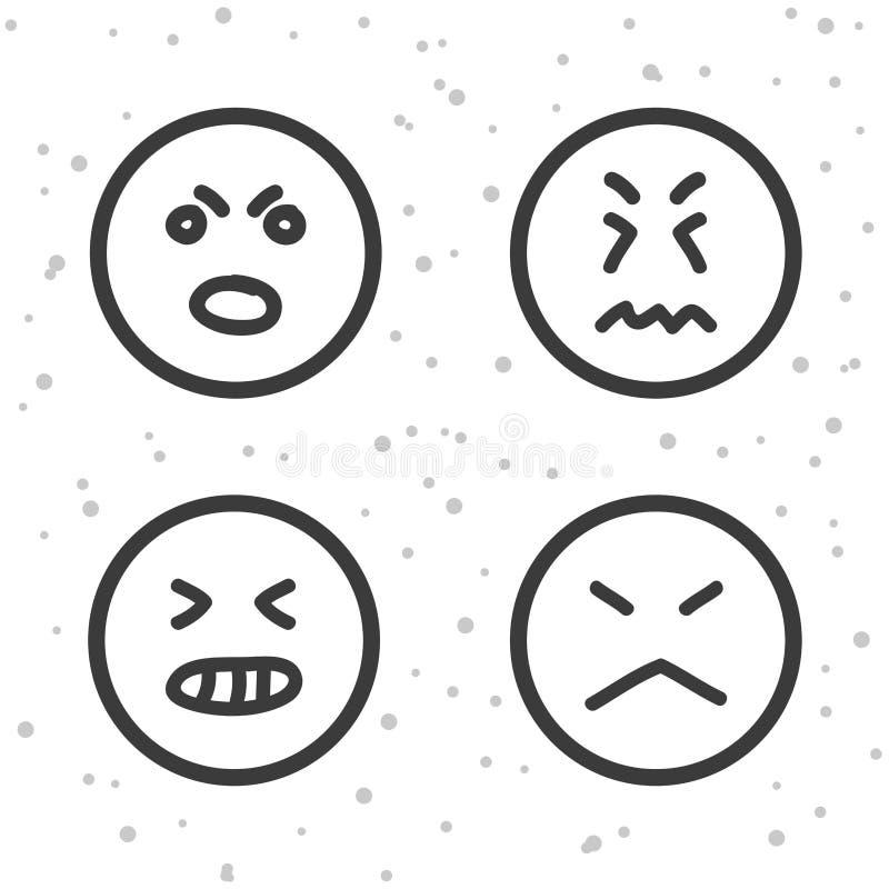 Szalenie Smiley ikony Gniewni i zli emoticons symbole royalty ilustracja