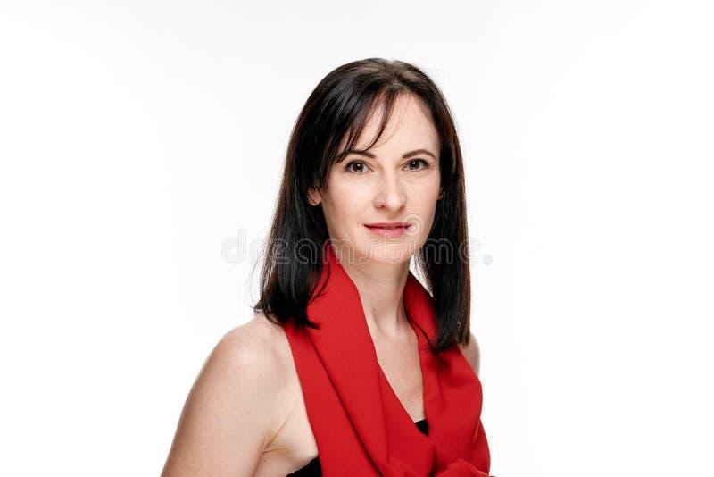 szalik czerwona kobieta zdjęcie royalty free