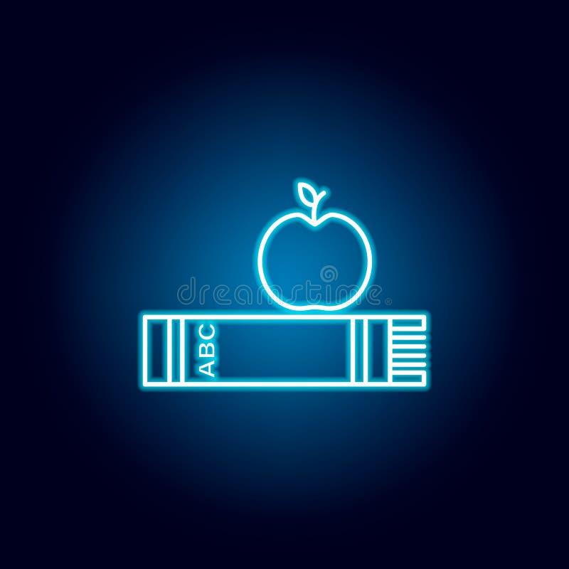 szalik, jabłko, organicznie, edukacja konturu ikona w neonowym stylu elementy edukacji ilustracji linii ikona znaki, symbole mogą royalty ilustracja
