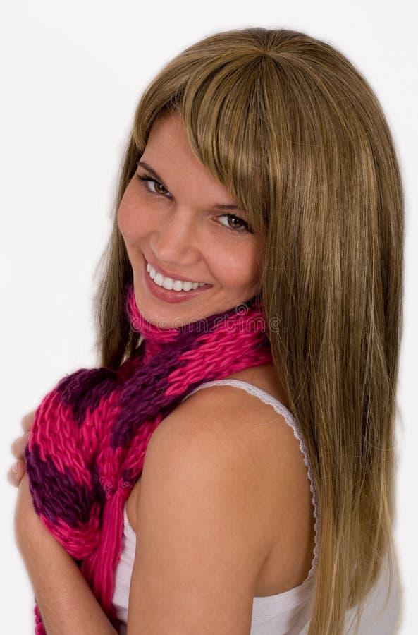 szalik jaskrawy śliczna kobieta zdjęcie stock