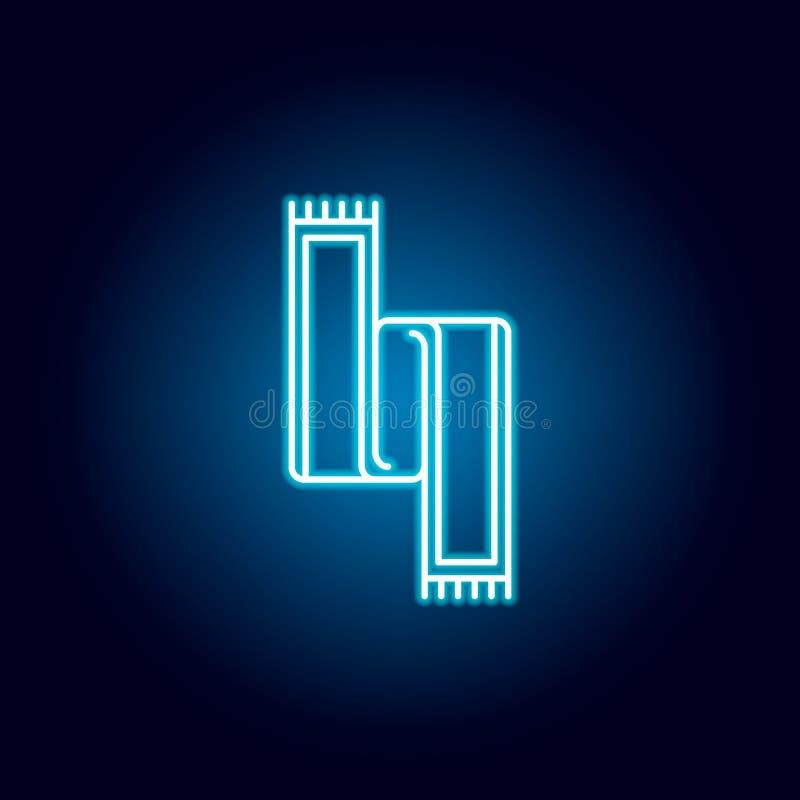 szalik, zima konturu ikona w neonowym stylu elementy edukacji ilustracji linii ikona znaki, symbole mogą używać dla sieci, logo, royalty ilustracja