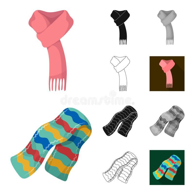 Szalika i chusty kreskówka, czerń, mieszkanie, monochrom, kontur ikony w ustalonej kolekci dla projekta Odziewa i Akcesoryjny wek ilustracji