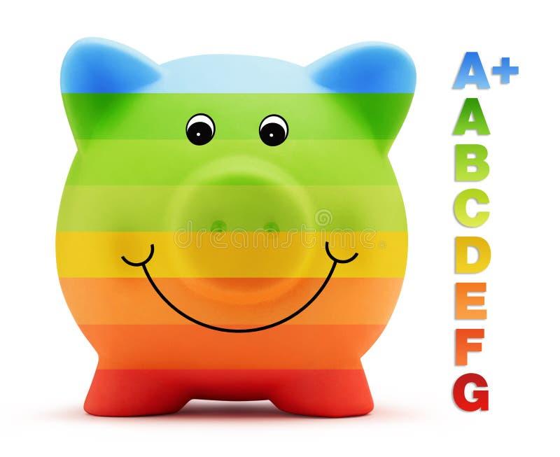 Szalkowa klasowa energia - savings barwią z prosiątko bankiem zdjęcia stock