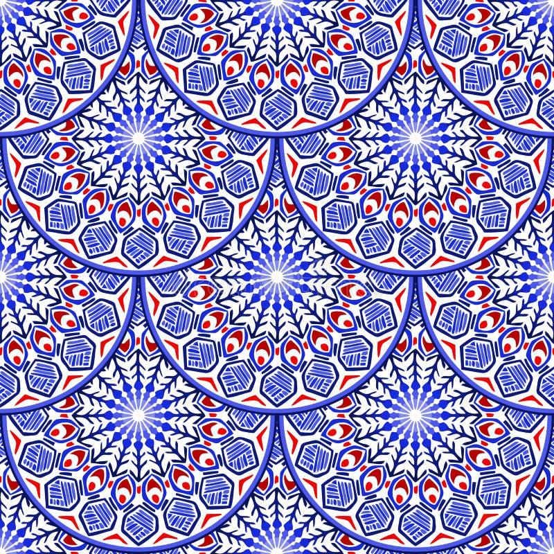 Szalkowy falowy plemienny mandala bezszwowy deseniowy projekt z łańcuchem i arkana z błękitnej czerwieni białym kolorem tonujemy ilustracji